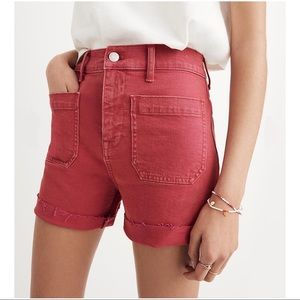 Madewell Garment-Dyed High Rise Denim Shorts 32